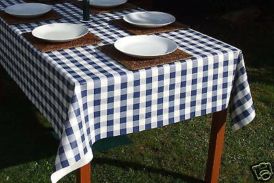 1.4x2.0m RECTANGLE BLUE GINGHAM PVC/VINYL WIPECLEAN TABLECLOTH WITH PARASOL HOLE