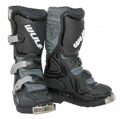 Wulfsport Cub LA Kids Youth Childrens Childs MX Motocross Boots - Black
