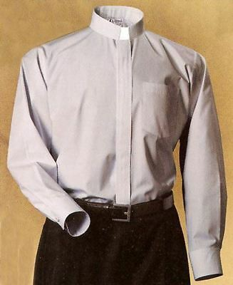 NEW Abbey Brand CLERICAL COLLAR SHIRT Clergy Priest Vestment Pastor Gray 15 14.5