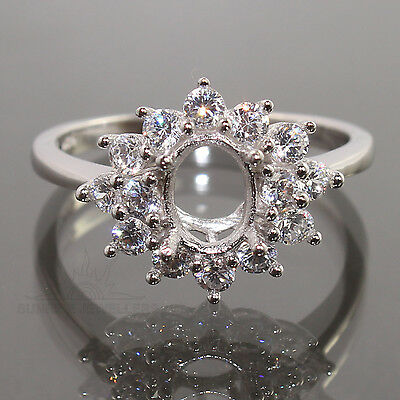 925 Sterling Silver Semi Mount Engagement CZ Ring 5x7mm Oval Setting CHOOSE SIZE