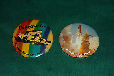 Lot of 2 Vintage Space Prog. Butons Kennedy & Edmonton Space Center
