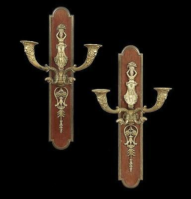 Pair French Empire Style Bronze and Mahogany Sconces
