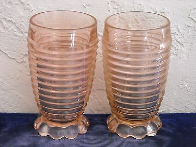 Set of 2 Manhattan Footed Tumblers As Is  Pink