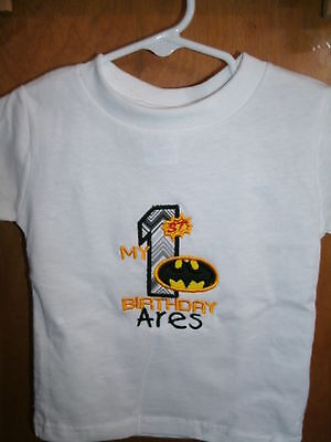 Personalized 1st Birthday Batman Shirt ANY NAME & COLOR SCHEME