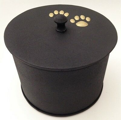 Hand Made Metal Pet Urn Dog Cat Memorial Casket Cremation Ashes Black Box