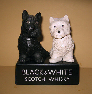 Vintage Buchanan's Black & White Scotch Whisky Scottie Dogs Store Advertising