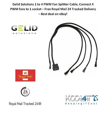 Gelid Solutions 1 to 4 PWM Fan Splitter Cable, Connect 4 PWM Fans to 1 Socket