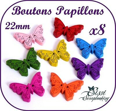 LOT 15 BOUTON FLEUR PAPILLON VIOLET ORANGE SCRAPBOOKING SCRAP COUTURE ENFANT
