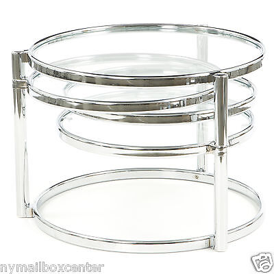 Cool Motion Expandable Contemporary Chrome Round Glass Cocktail Coffee Table