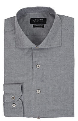 Slim / Tailored Fit Extra Spread Collar Mens Grey Dress Shirt Wrinkle-Free AZAR
