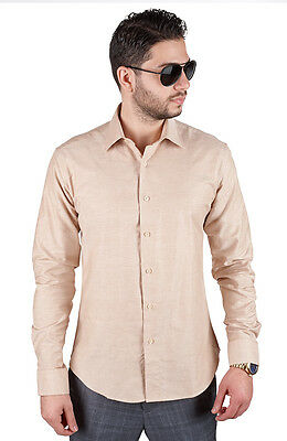 Slim / Tailored Fit Mens Tan Sand Dress Shirt Wrinkle-Free Spread Collar AZAR