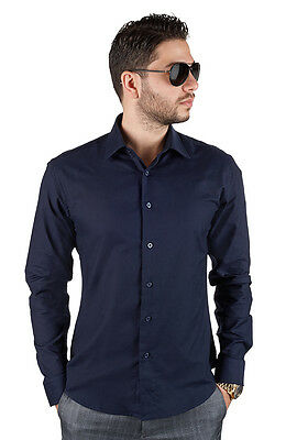 Slim / Tailored Fit Mens Navy Blue Dress Shirt Wrinkle-Free Spread Collar AZAR