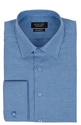 Tailored / Slim Fit Mens French Cuff Blue Dress Shirt Wrinkle-Free By AZAR MAN