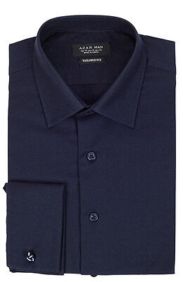 Tailored / Slim Fit Mens French Cuff Navy Blue Dress Shirt Wrinkle-Free By AZAR