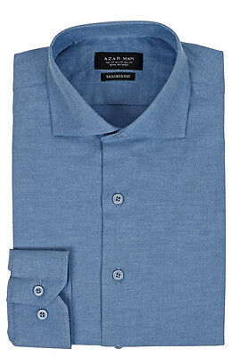 Slim / Tailored Fit Extra Spread Collar Mens Blue Dress Shirt Wrinkle-Free AZAR