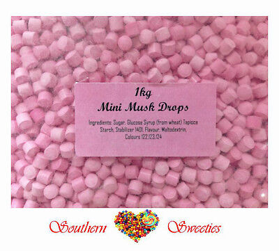 1Kg Mini Musk Drops Pink Lollies Candy Buffet Bulk