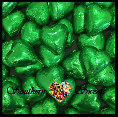 1Kg Green Foiled Hearts Milk Chocolate Choc Candy Buffet Green Lollies Foil Xmas
