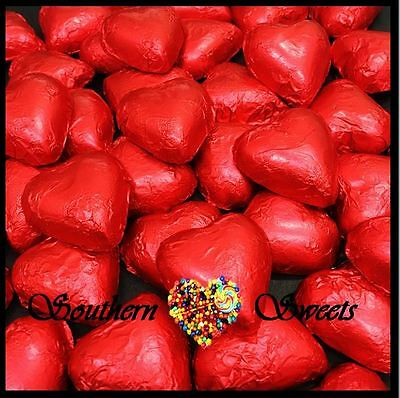 1Kg Red Foiled Hearts Milk Chocolate Foil Heart Choc Candy Buffet Red Lollies