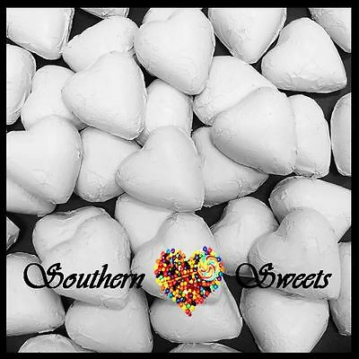 1Kg White Foiled Hearts Milk Chocolate Foil Choc Candy White Lollies Bulk