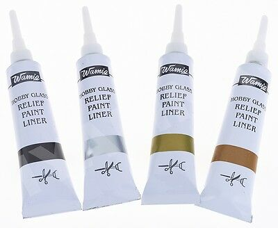 4 X WamiQ HOBBY GLASS OUTLINER CERAMIC GLASS PAINT OUTLINER RELIEF PAINT LINERS