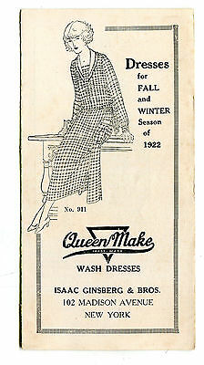 Vintage Advertising Booklet QUEEN MAKE Fall Winter 1922 Dresses Isaac Ginsberg