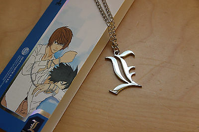 For Death Note Letter L Necklace Lawliet Kira Charm Cosplay Metal Silver XL YL