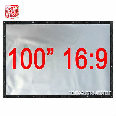 "100"" 16:9 Silver Metal Gray Projection Screen Curtain Film for HD 3D Projector"