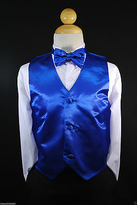 Children Teen Boys ROYAL BLUE VEST + BOW TIE for Wedding Suits Tuxedo Sz S-28