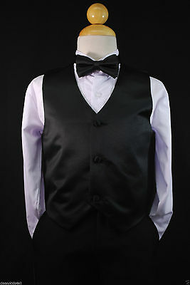 Children Teen Boys BLACK VEST + BOW TIE for Wedding Formal Suits Tuxedo Sz S-28