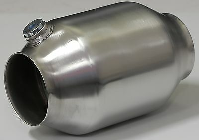 """High Flow Catalytic Converter, 4"""" Stainless Steel 100 Cell 5"""" Body Race Cat"""