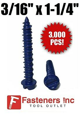 "(Qty 3000) 3/16"" X 1-1/4"" Concrete Masonry Screw Anchors Tapcon Hex Head BULK"