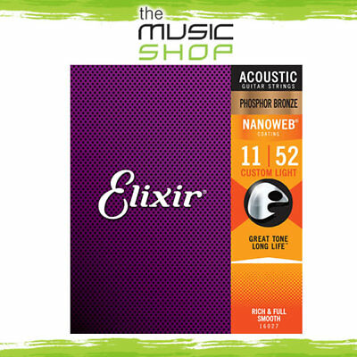 6 Sets Of Elixir Nanoweb 11-52 Phosphor Bronze Acoustic Guitar Strings - 16027