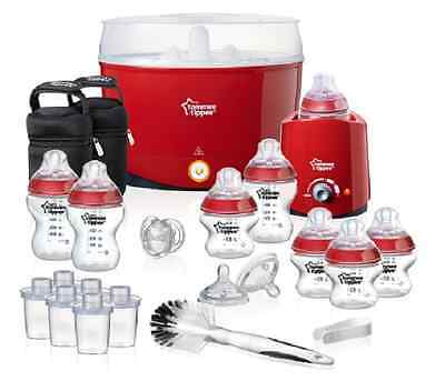 RED Tommee Tippee Nature Newborn Baby Feeding Essentials Set bottles Steriliser