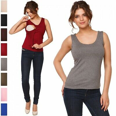 Happy Mama. Women's Maternity Nursing Double Layered Tank Top. Sleeveless. 982p