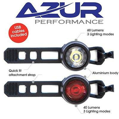 AZUR USB Cyclops Bike Light Set - Front White & Rear Red - Rechargeable