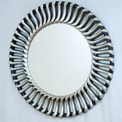 Contemporary Valentina Large Round Black and Gold Wall Hanging Mirror Unique