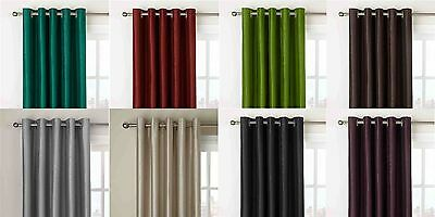 Pair of Faux Silk Fully Lined Eyelet Ring Top Curtains Including Tie-Backs