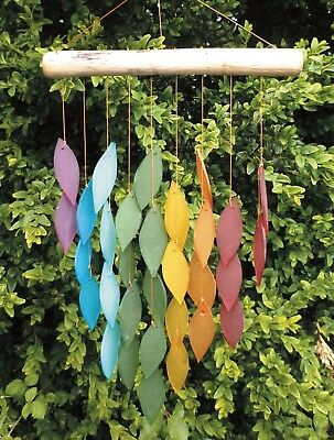 Fair Trade Indonesian Glass Falling Leaf Windchime/Mobile - Various Colours