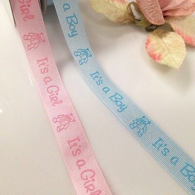 Special Grosgrain Baby Ribbon(It's a girl or Boy for infant shower)22mm Wide