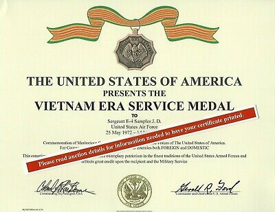 VIETNAM ERA Certificate Army Navy Air Force Marines Coast Guard