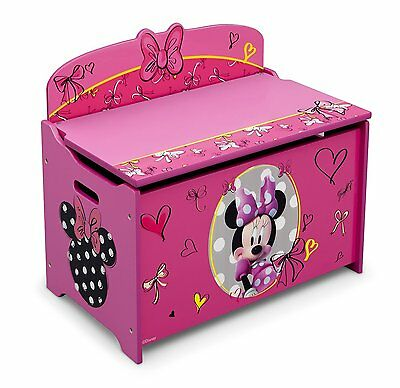 Pink Toy Storage Chest Bin Organizer Box Trunk Girls Kids Bench Minnie  Mouse New