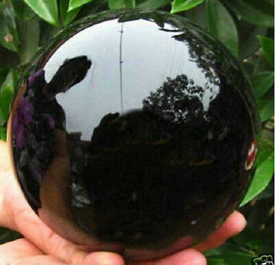 Natural Black Obsidian Sphere Large Crystal Ball Healing 40MM--110MM + STAND