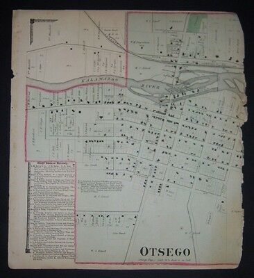 1873 original Plat Atlas page OTSEGO TOWNSHIP, MI. only half of the double page