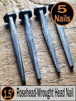 "(5) 1.5"" - Decorative Wrought Rosehead Nails  - Antique Reproduction type - 4d"