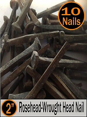 "(10) 2"" - Decorative Wrought ""PATINA"" Rose Head Nails - Square Wrought head - 6d"