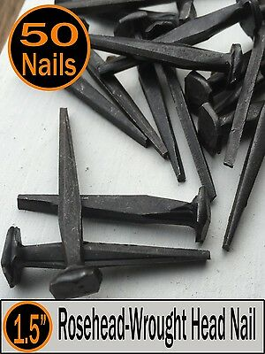 "(50) 1.5"" - Rose Head Nails  - Historic preservation - rustic look - 4d"