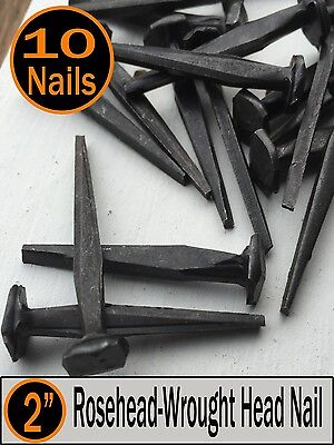 "(10) 2"" - Rosehead Historic Style Nails  -  Vintage restoration iron nails - 6d"