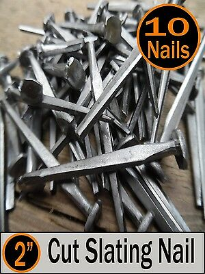 "(10) 2"" - CUT SLATING NAILS  - Vintage Antique - 6d"