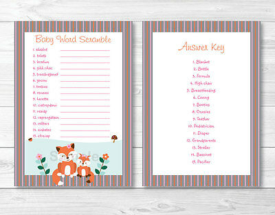 picture regarding Free Printable Baby Shower Games Word Scramble With Answer Key named WOODLAND Woman FOX Printable Child Shower \