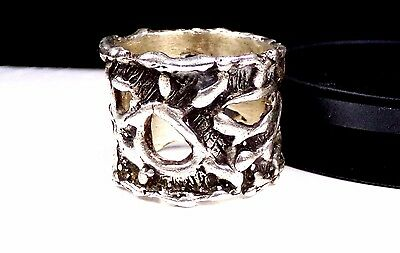Old Sterling Silver Ring Modernist Unique Artisan Wide Band Vintage 925 Abstract